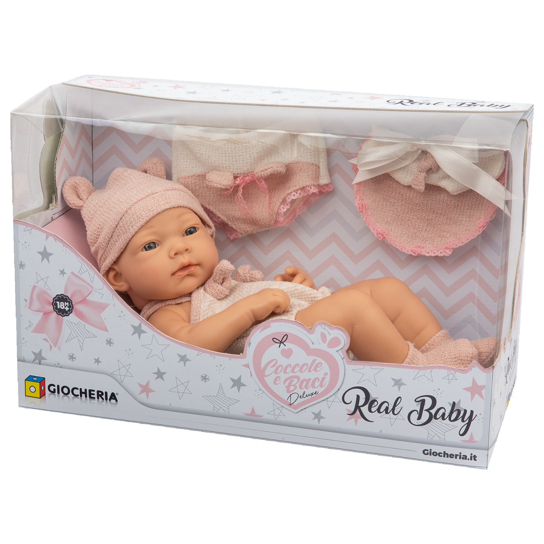 COCCOLE E BACI - REAL BABY CM.38  (4 ROSA + 2 AZZURRO)