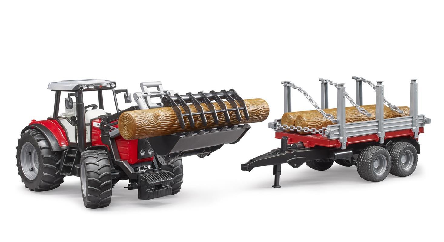Trattore Massey Ferguson 7480 con rimorchio trasporto tronchi